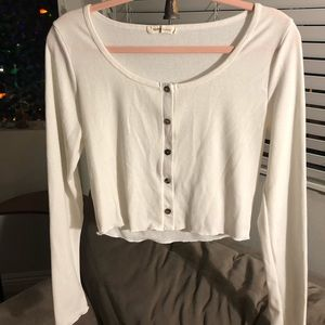 White cropped buttoned long sleeve